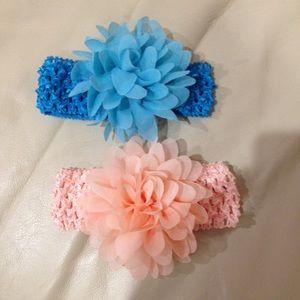 NWOT Peach & Blue Flower Baby Headbands